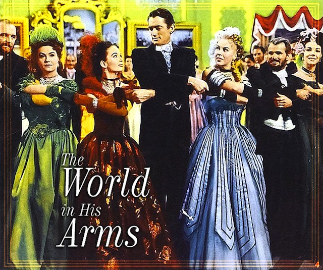 """Ann Blyth, Gregory Peck, and Andrea King in """"The World In His Arms"""" (Universal, 1952)"""