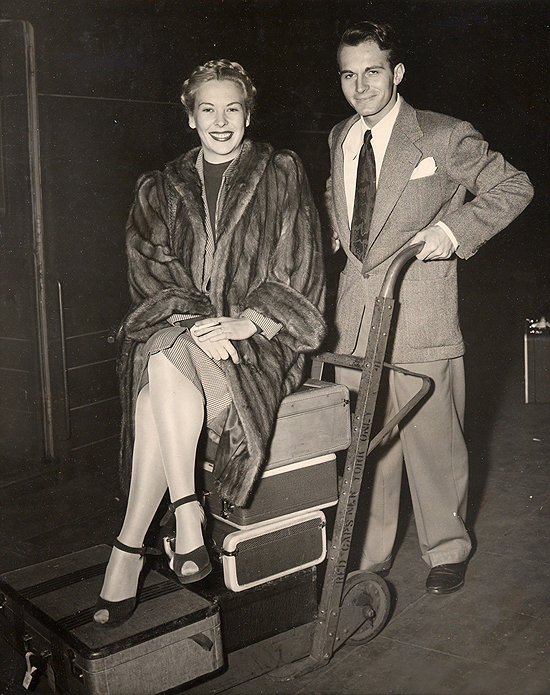 1945 personal appearance tour: The press and photographers were ready and waiting when Andrea King arrived at Grand Central Station. So was her co-star Helmut Dantine, who greeted her, ready for the onslaught.