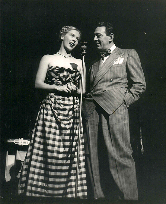 1945 personal appearance tour: on stage at the Strand Theatre in New York with Andrea King and comedian Lew Parker.