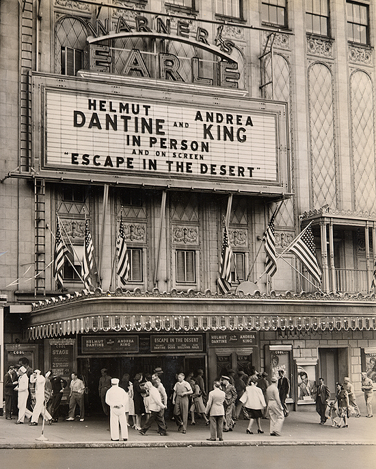 1945 personal appearance tour: the marquee for Warner Bros.' Earle Theatre in Philadelphia. The second stop on the tour.