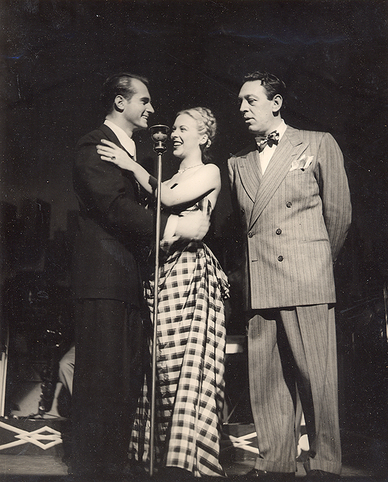1945 personal appearance tour: on stage at the Strand Theatre in New York with Helmut Dantine, Andrea King, and comedian Lew Parker.