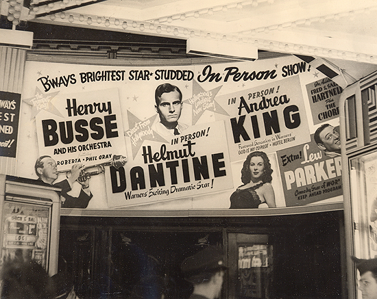 1945 personal appearance tour: the marquee in Times Square at the Strand Theatre.