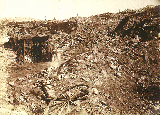 Belle McKee's photographs of World War I in France, 1918. A Red Cross hospital tent among the ruins.