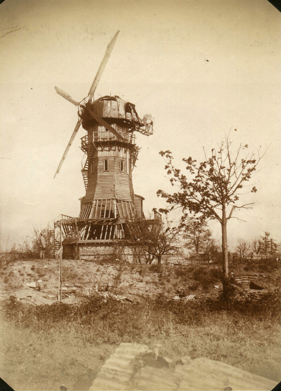 Belle McKee's photographs of World War I in France, 1918. A ravaged windmill on the front lines.