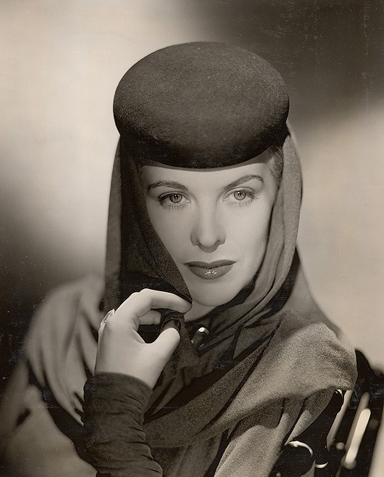 "Andrea King, Warner Bros. still gallery, 1945. This costume and hat were used when she played Lisa Dorn in ""Hotel Berlin."""