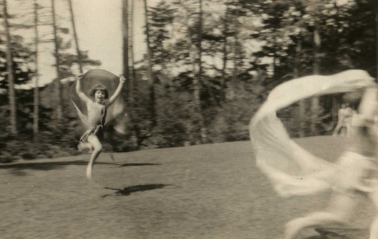 Andrea King, approximately age 7, at the Gardiner-Doing Camp in the Adirondacks. Upper St. Regis Lake, NY. Circa 1926.