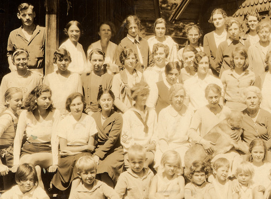 Andrea King's mother Belle McKee, pictured in the back row, next to the post. Andrea and her sister Anne are in the front row together on the right. Circa 1929.