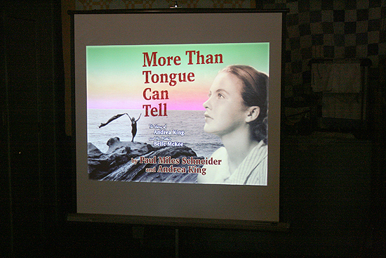 "Setting up the PowerPoint presentation at the Ben Franklin Bistro for ""More Than Tongue Can Tell,"" featuring rare photos from the lives of Andrea King and her mother Belle McKee."